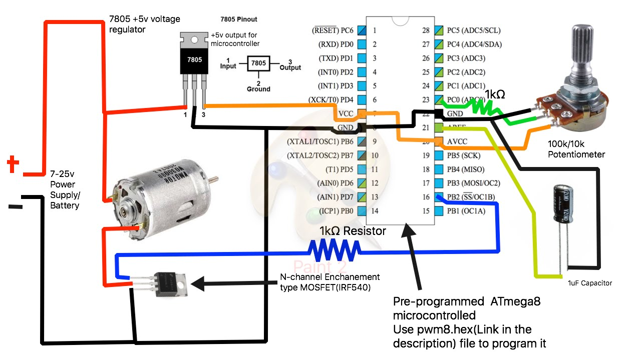 Circuit Diagram Of Dc Motor Speed Controller: How to build a simple PWM DC Motor Speed Controller using ATmega8 rh:youtube.com,Design