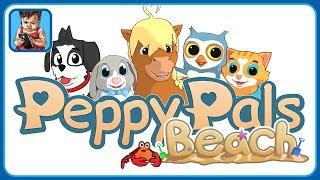 Друзья зверята отдыхают на пляже в игре для детей Peppy Pals Beach