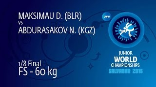 1/8 FS - 60 kg: D. MAKSIMAU (BLR) df. N. ABDURASAKOV (KGZ), 13-10