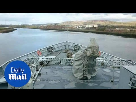 Bridge-eye view of Royal Navy Fishery Protection Ship HMS Tyne - Daily Mail