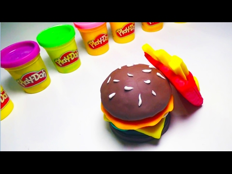 Play Doh Surprise Eggs Burger Hamburger Playdough Cooking Doh Food Kids Fun Toys
