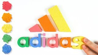 Coloring Nike Adidas Puma LOGO with Kinetic Sand for Kids, Children