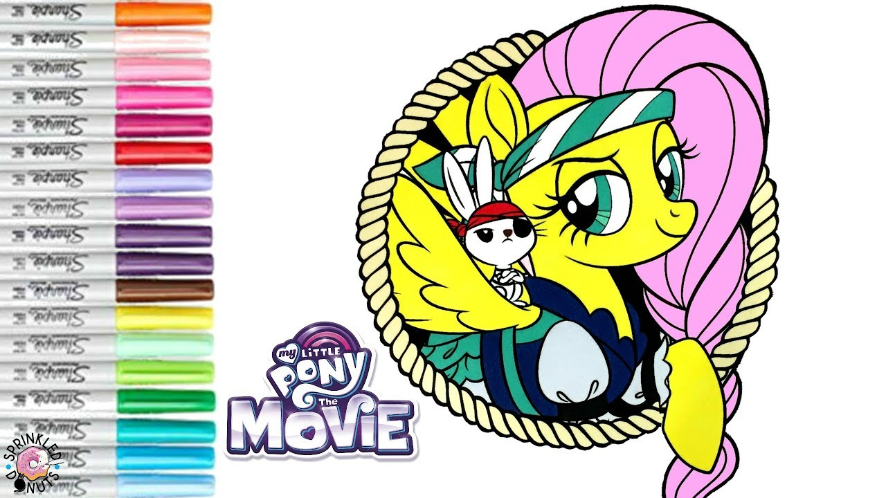 my little pony coloring book page pirate fluttershy mlp movie 2017