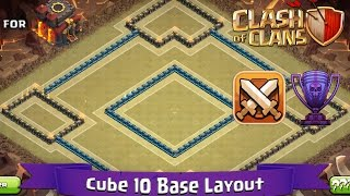 Clash Of Clans: TH10 | BEST Clan War / Trophy Base Layout (with Defence Replays) - Cube 10