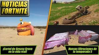 NOTICIAS FORTNITE | Filtraciones de la Temporada 5 | Cartel de Greasy Grove en la Vida Real