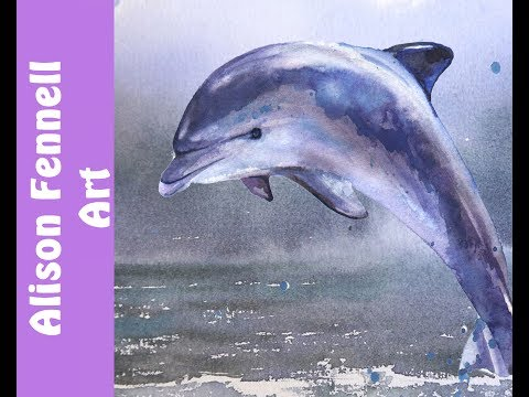 Painting a Dolphin and the Ocean in Watercolor - REALTIME