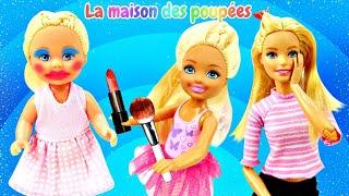 Evi et Chelsea font le maquillage. Vidéo en français avec Barbie et les autres poupées.