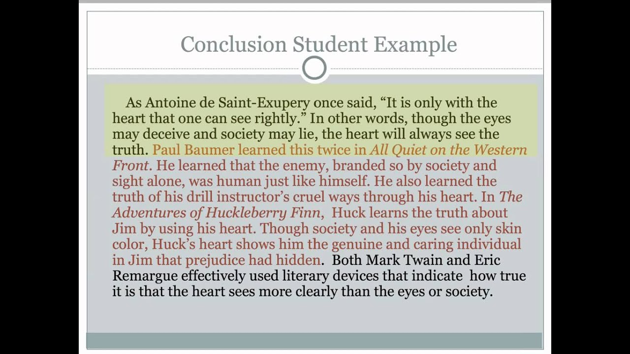 Critical Lens Essay #5 Writing the Conclusion - YouTube