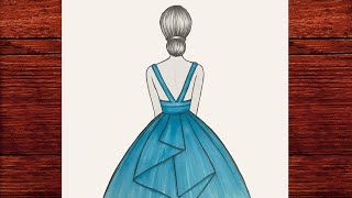 Kolay Prenses Elbisesi Çizimi 👗 Elbise Nasıl Çizilir - Çok Kolay Mavi Elbise Çizimi - Çizim Mektebi