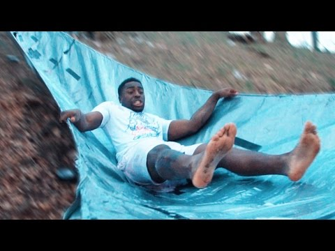 DIY DUCT TAPE SUPER SLIDE! (EXTREMELY SLIPPY)