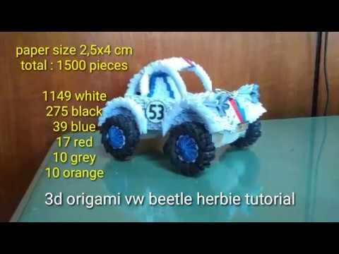 Paper craft 3d origami vw beetle herbie tutorial part 2