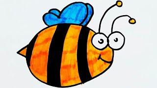 Как нарисовать пчелу. Рисунки для детей. Видео урок рисования для малышей. Простые рисунки.