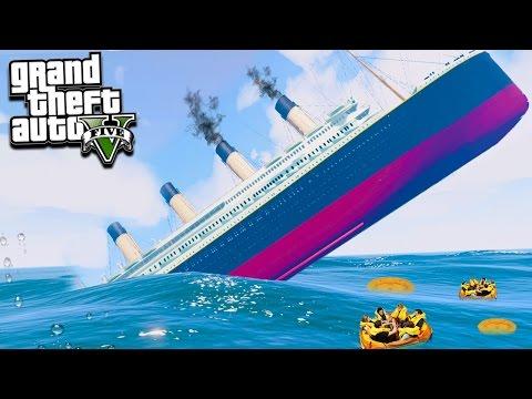 GTA 5 CAN WE ESCAPE THE TITANIC SINKING?!?! (GTA 5 Mods)