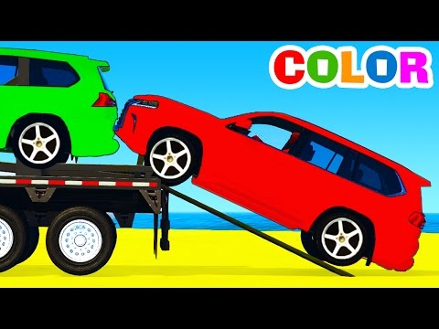 COLORS SUV CARS Transportation & Spiderman 3D Cartoon for Kids w Color for Children Nursery Rhymes