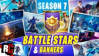 Fortnite All 10 Battle Stars/Banners in Season 7 (Snowfall Skin)