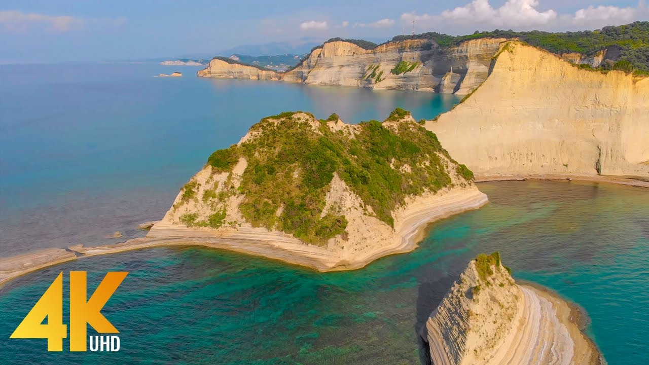 4K Drone Footage - Bird's Eye View of Corfu, Greece - Ambient Drone Film with Calming Music