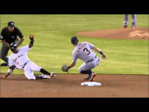 Infielders let the ball get deep on tag plays in baseball