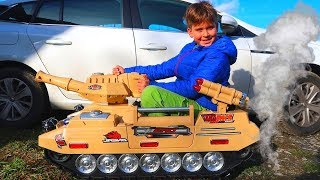 Funny Baby Unboxing And Assembling - The POWER WHEEL Ride On TANK