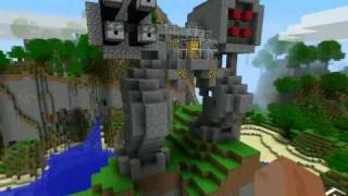 Minecraft Robots TNT Cannon War, Fire Arrows Machine Guns on Our Server!