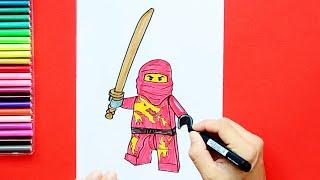 How to draw and color Kai - LEGO Ninjago
