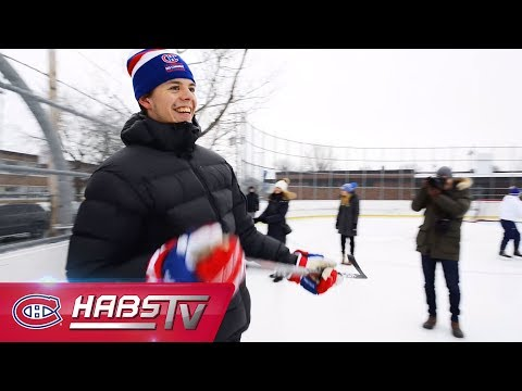 Habs crash an outdoor hockey game at community rink