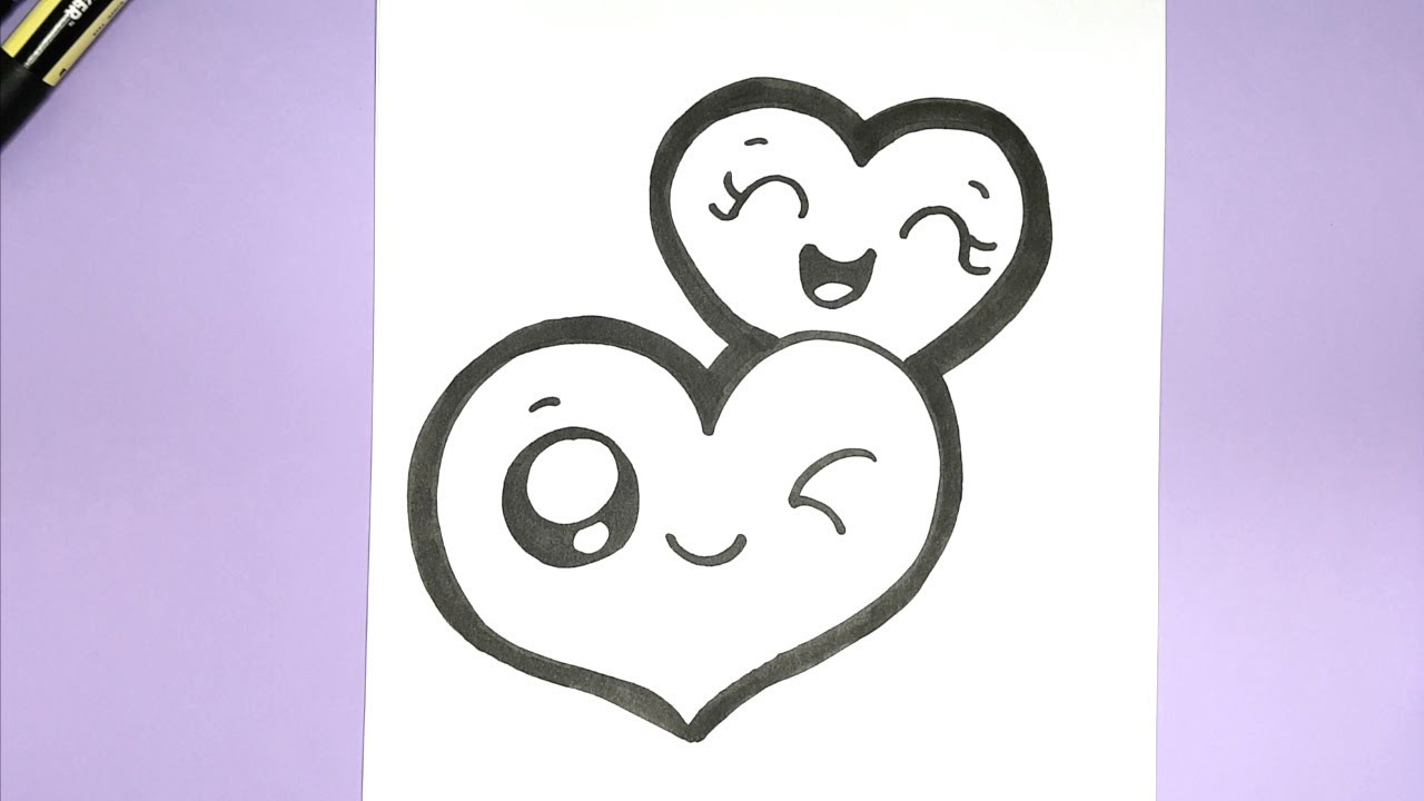 How To Draw Two Cute Hearts For Valentines Super Easy Youtube