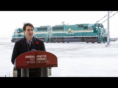 Prime Minister Trudeau delivers remarks on the opening of the rail line in Churchill, Manitoba