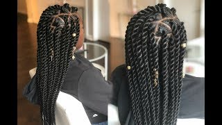How To - Jumbo Senegalese Rope Twist On Straight Hair - Triangle Parts