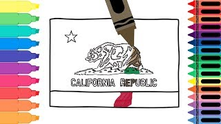 How to Draw California Flag - Coloring Pages for kids- Drawing the Californian Flag | Tanimated Toys