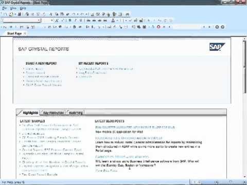 Crystal Reports 2011 Tutorial - Starting Crystal and Creating New Reports