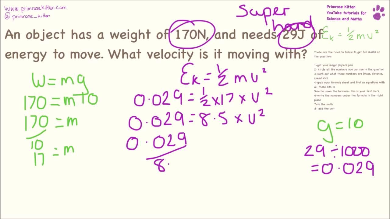 Kinetic Energy Calculations. Easy to Super hard. Ek=1/2mv^2