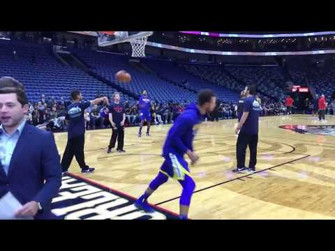 Steph!!! Swaggy!!! (pregame routines from Warriors-Pelicans at Smoothie King Center in New Orleans)