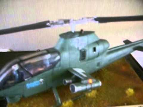 Revell 1/32 scale Bell AH-1G  Cobra attack helicopter diorama with leds