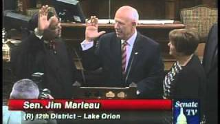State Sen. Jim Marleau, R-Lake Orion, is administered the oath of office