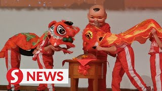 Junior lion dance troupe steals the show at CNY reception in Beijing