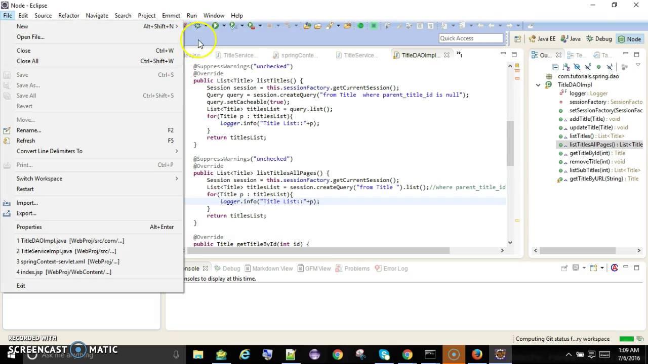 Node JS Hello world using eclipse IDE Enide