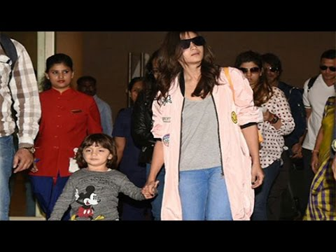 SPOTTED- ABRAM KHAN WITH ALIA BHATT AND DADDY SRK AT AIRPORT | Bollywood News