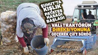 Vali Tutulmaz Patates Tarlasında Traktörün Direksiyonuna Geçerek Çift Sürdü