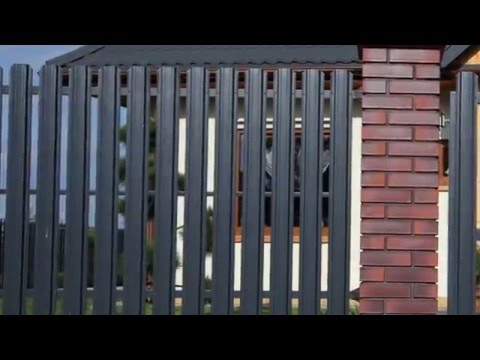 Забор из металлического штакетника (евроштакетника)