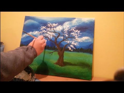 How to paint a tree in a field step by step youtube for My first watercolor painting