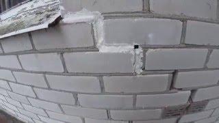 Трещина в кирпичной кладки дома из белого кирпича(Что думаете по этому поводу? В интернете нет видео по устранению...или все безумно просто?! Задуть пеной и..., 2016-02-10T17:49:19.000Z)