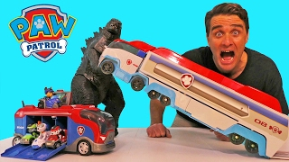 Paw Patrol Mission Cruiser Godzilla Attack !  || Toy Reviews || Konas2002