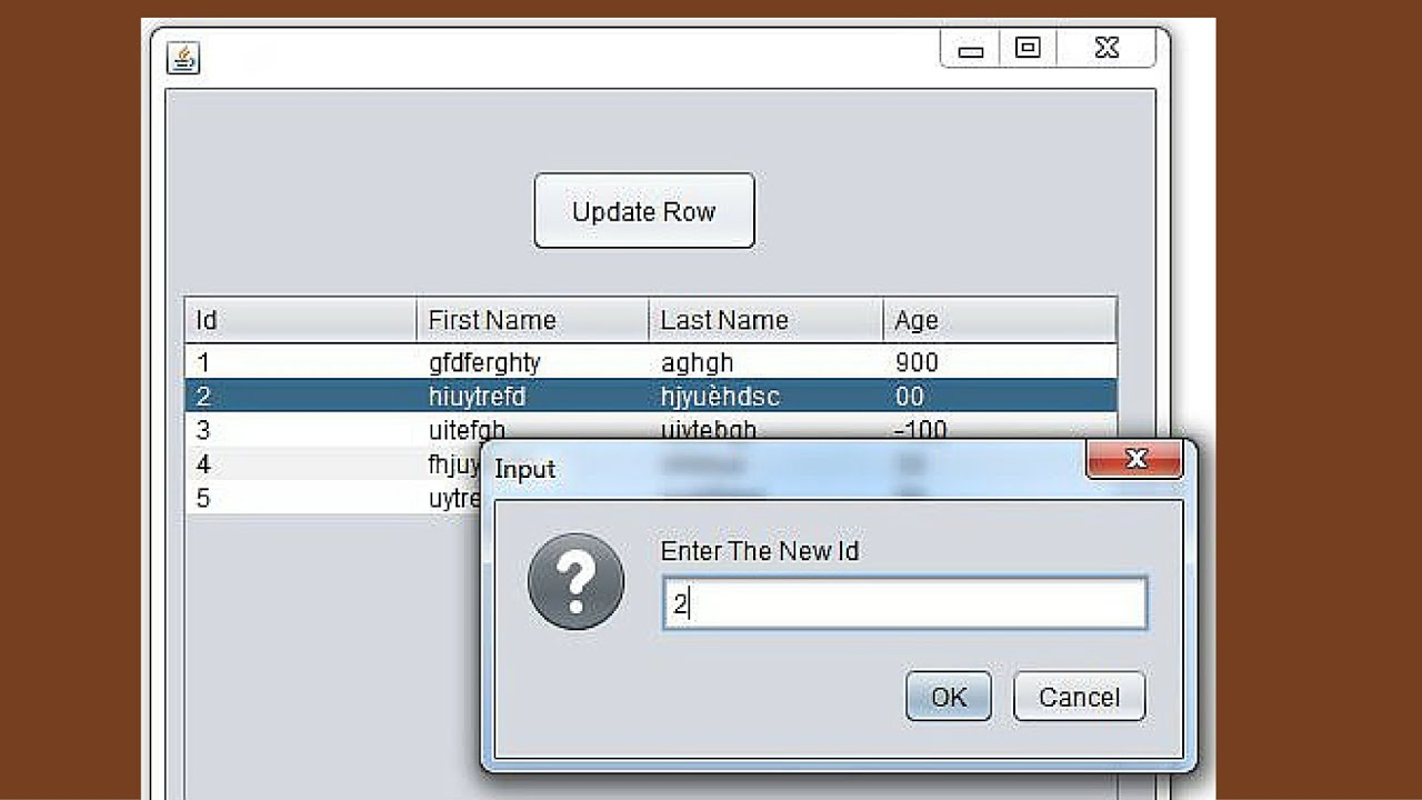 JAVA Tutorial - How To Update JTable Selected Row Using