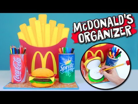 How to make this AWESOME MCDONALDS DESK ORGANIZER. Back To School CRAFTS and DIY