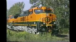 New BNSF GE C44-9W Locomotives Being Delivered To Interchange. Erie, PA. 9-3-96. Time 10:05 Am.
