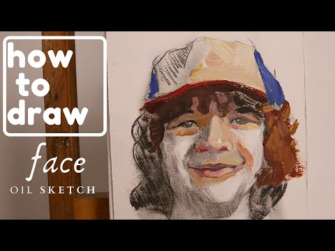 Stranger Things, Dustin, How to paint a face, oil sketch,  #67