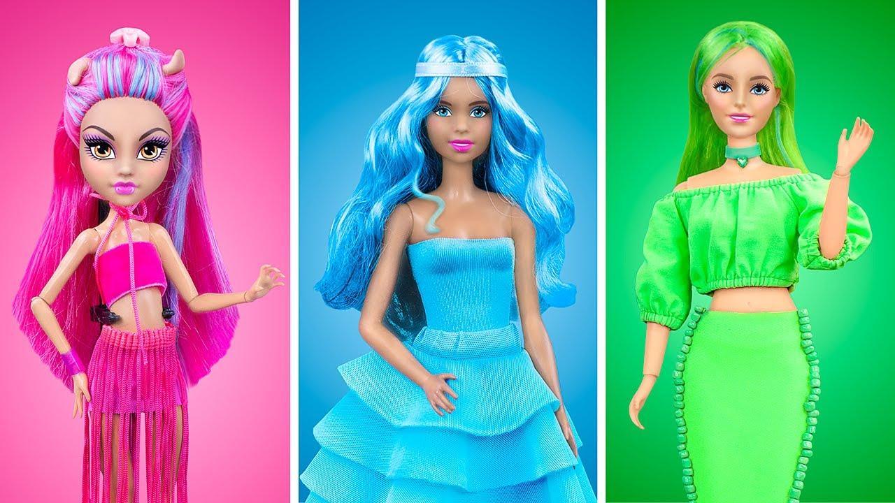 Renkli Meydan Okuma! 18 Tane Barbie Bebek Kendin Yap Tarzı Tek Renk Eşya
