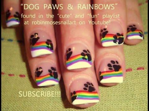 Paw Print & Rainbow Nail Art - Paw Print & Rainbow Nail Art - YouTube