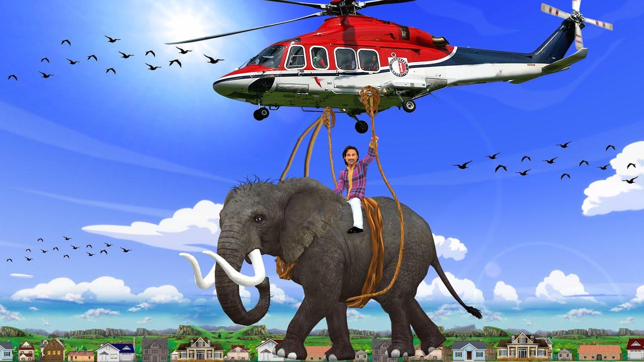 हेलीकाप्टर हांथी बचाव Helicopter Elephant Rescue Comedy Kahani - Hindi Kahaniya - Hindi Comedy Video
