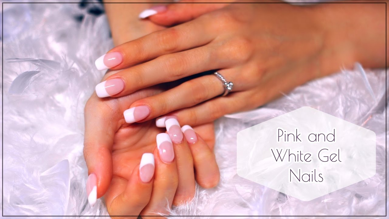 How to pink and white gel nails the easy way! - YouTube